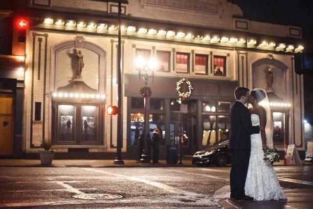 Wedding Couple Outside Woodward Theater